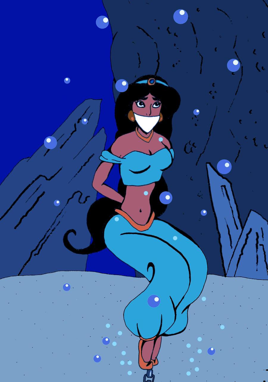 Princess Jasmine bound and gagged underwater by Nicochevsky