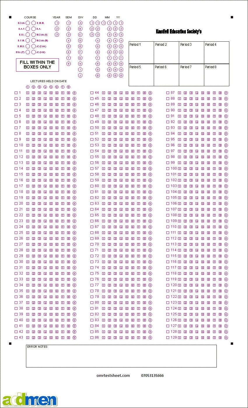 omr sheet 200 questions 4 options pdf