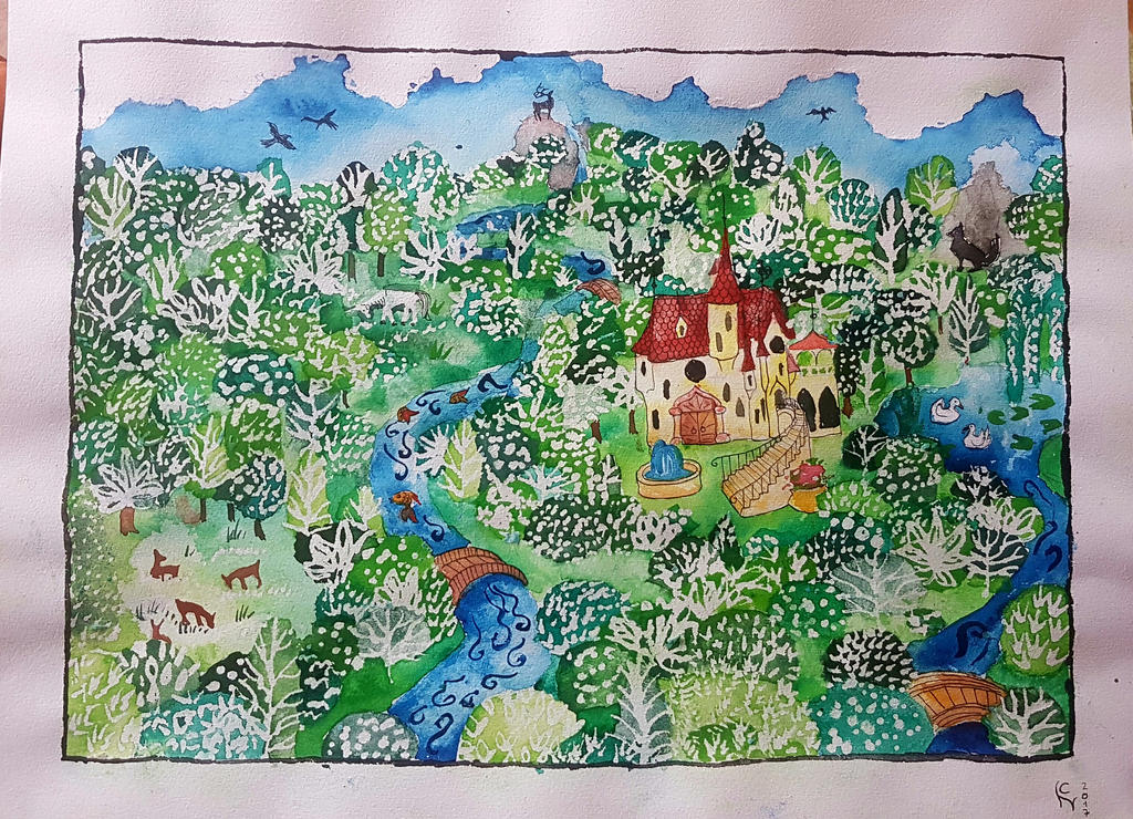 castle in the magic forest by nachtaugen
