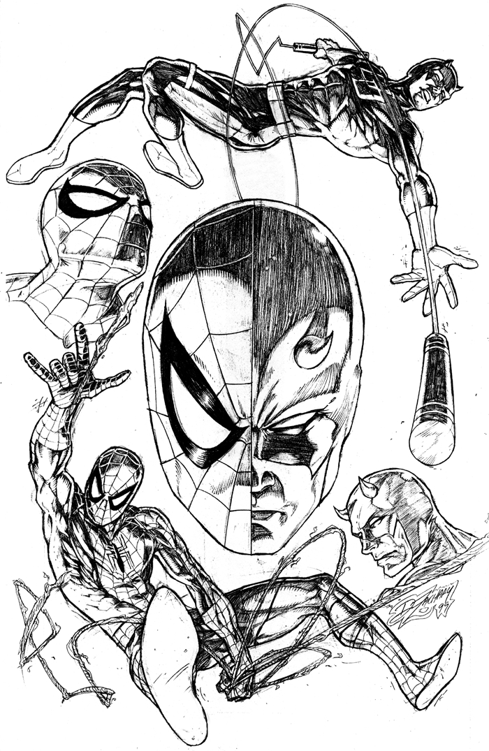 Spiderman Face Line Drawing : Spider man and daredevil by deanzachary on deviantart