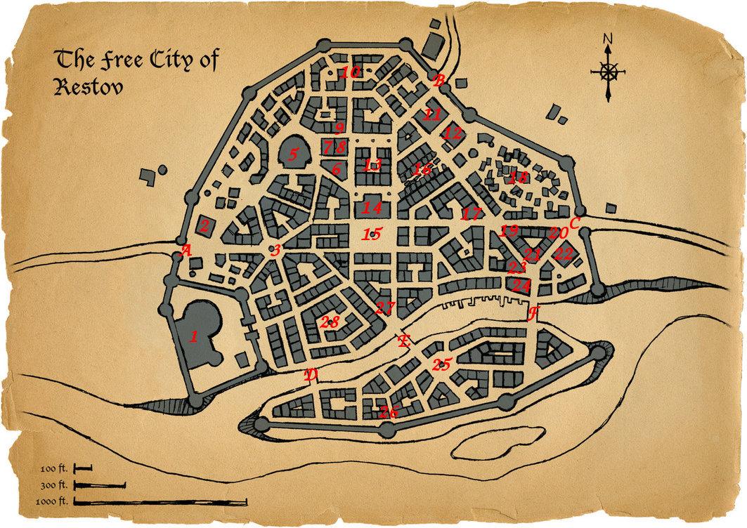 Map - City - Restov, Numbered (scotlandtom) by TheWyrmOuroboros