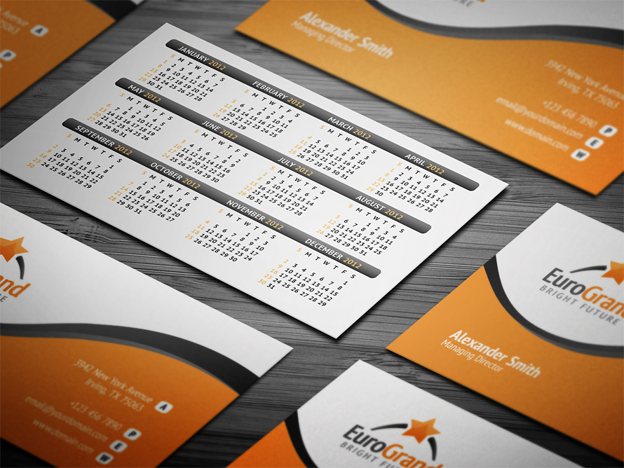 Business Calendar Cards Insssrenterprisesco - Business card calendar template