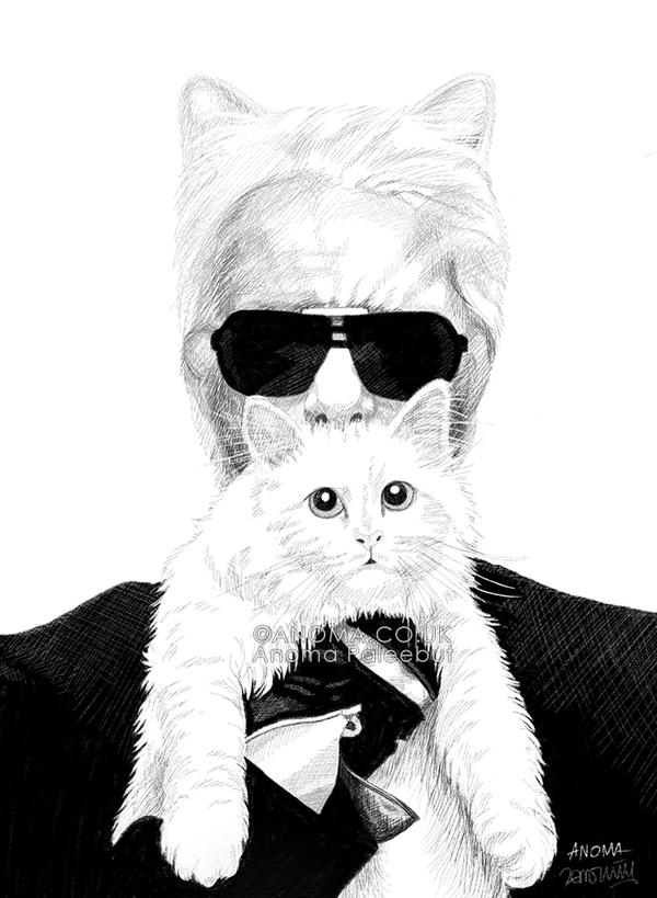 Karl Lagerfd and Chupette Fashion Illustration by anoma-co-uk