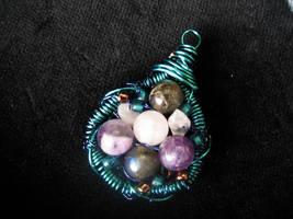 Labradorite, Rose Quartz and Amethyst Pendant