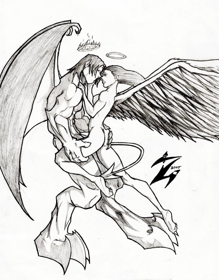 Angel and demon drawings
