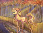 Applejack in a bamboo forest