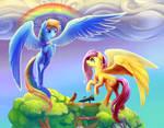 Triptych - Fluttershy and rainbow's rainbow.