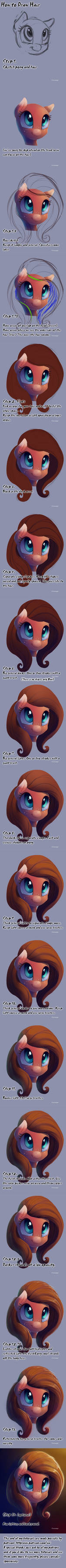 How to draw hair. Pony style.
