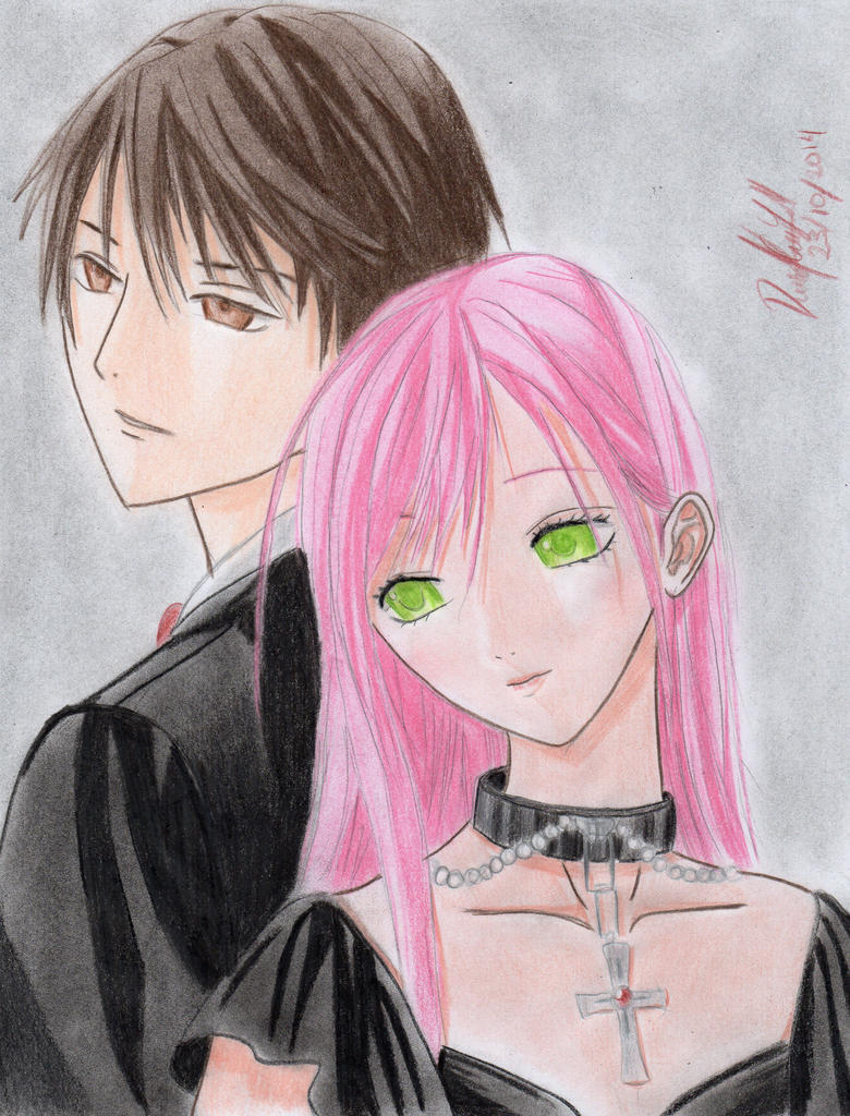 Moka and Tsukune (Rosario + Vampire) by danielcamilo