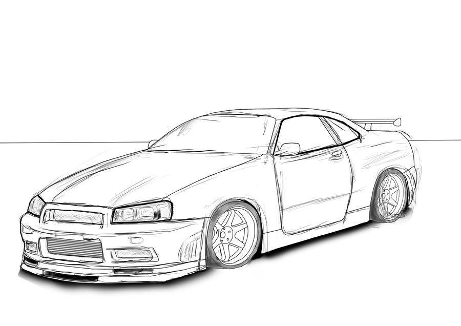 Line Drawing Nissan Gtr : Nissan skyline r gt by clodex on deviantart