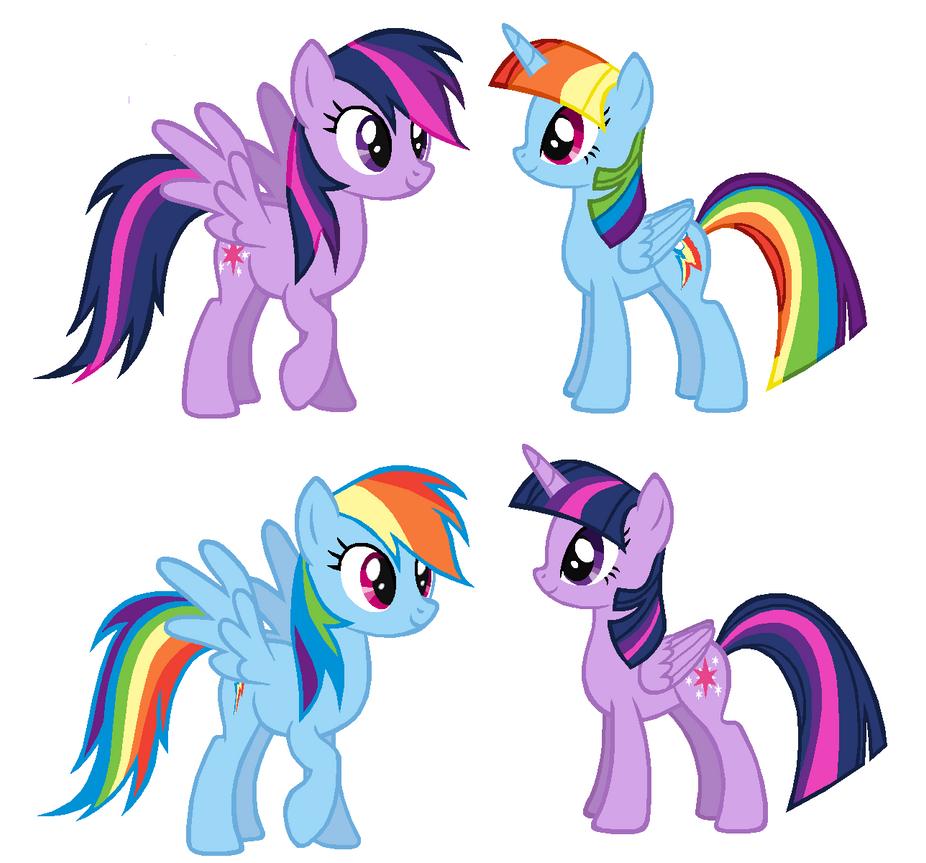 Rainbow Dash And Twilight Color Swap by snowflakenerds on DeviantArt