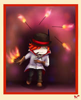 Roman Chibi: Fire Juggler by mercurialfox
