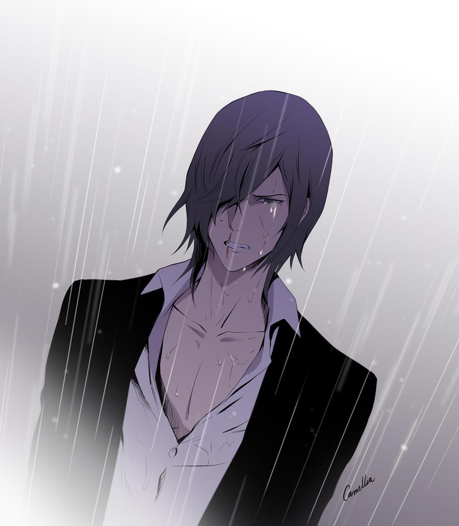 anime guy crying in the rain