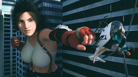 Giantess Tifa punching a helicopter
