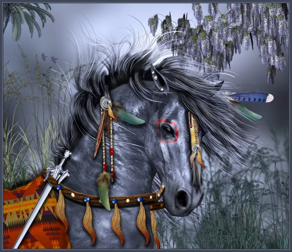 Fantasy tribal war horse by sylki51 on deviantart fantasy tribal war horse by sylki51 voltagebd Images