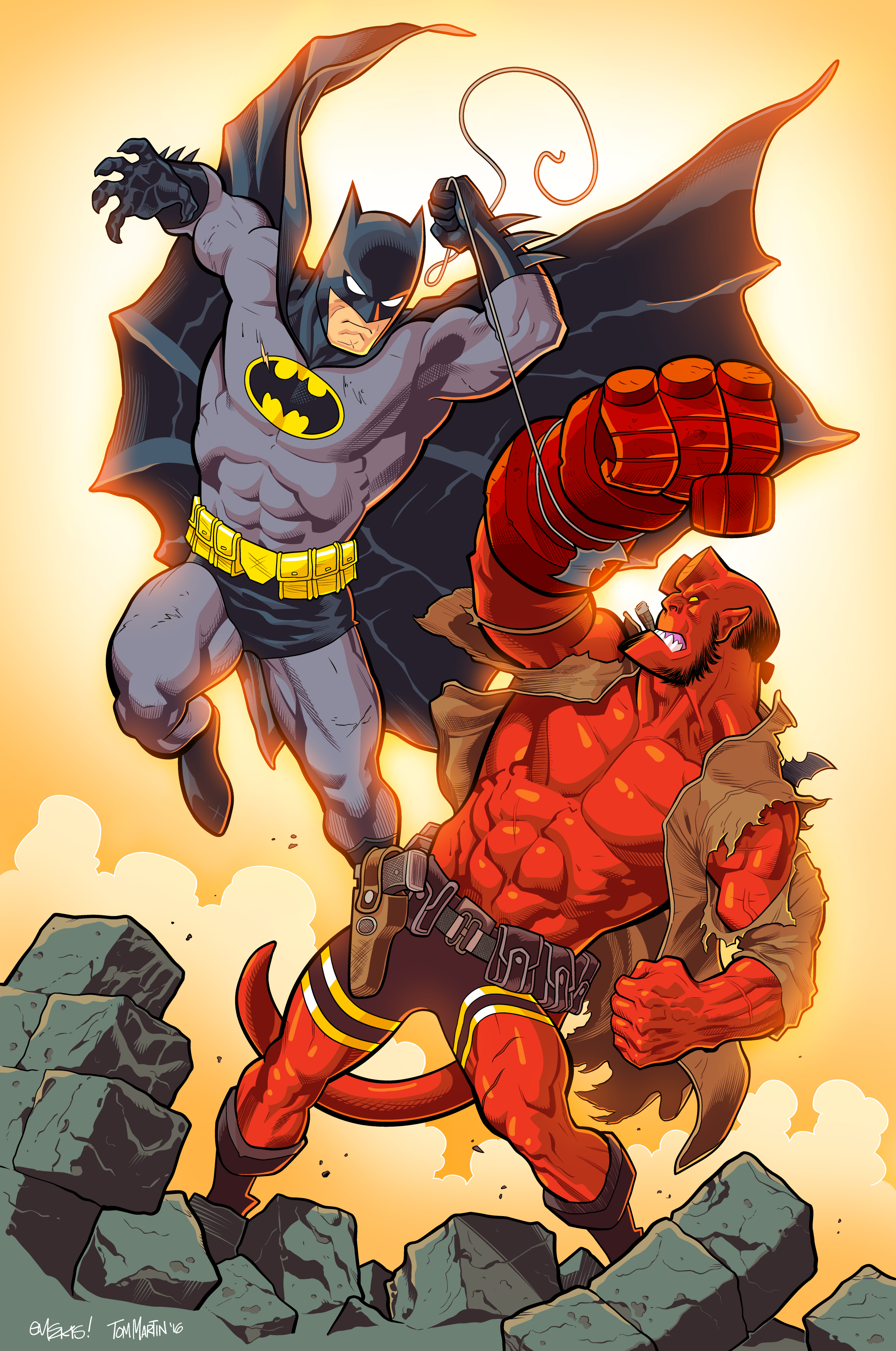 inking coloring ed mcguinness batman hellboy by