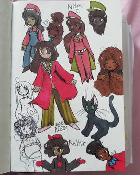Some black girls and a cat