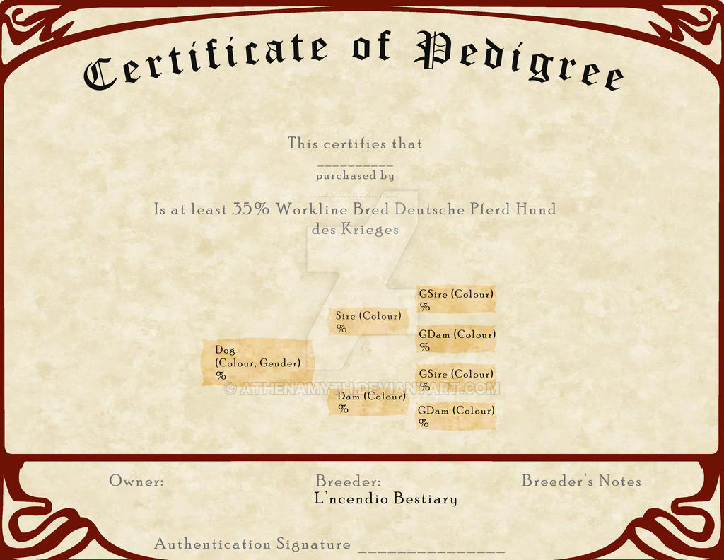 L'ncendio's Breeding Certificate - Working Line