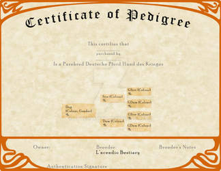 L'ncendio's Breeding Certificate - Krieges by AthenaMyth