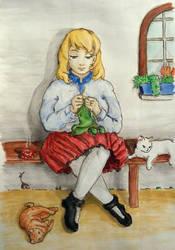 Cats, Tea and Needles by ilinga