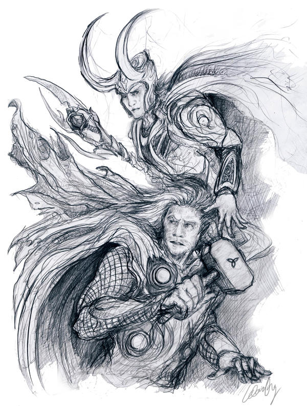 Avengers Thor And Loki Sketch By WhyteInq On DeviantArt