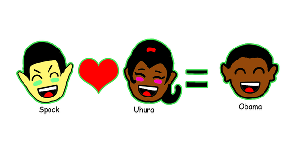 Spock and Uhura equals Obama by Eridanis-Requiem