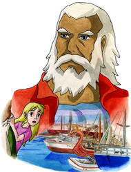 The grandpa - The Wind Waker AU, Miyazaki style by Skull-the-Kid