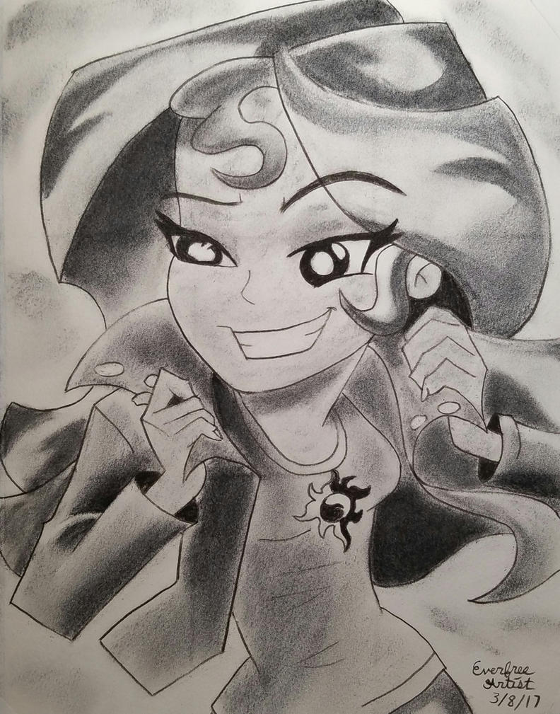 Sunset Shimmer EG Drawing by EverfreeArtist