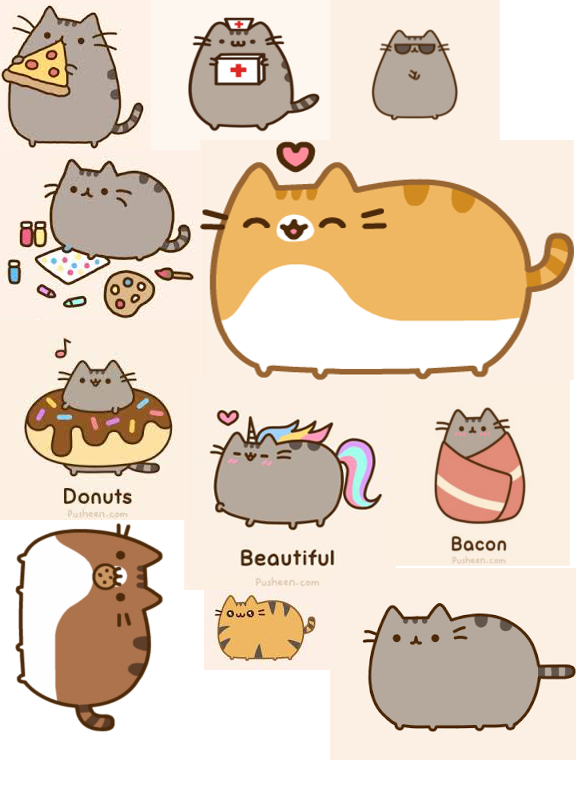 Mythical 5 Stickers on Sheet PUSHEEN Official Fancy Sheet of Vinyl Stickers