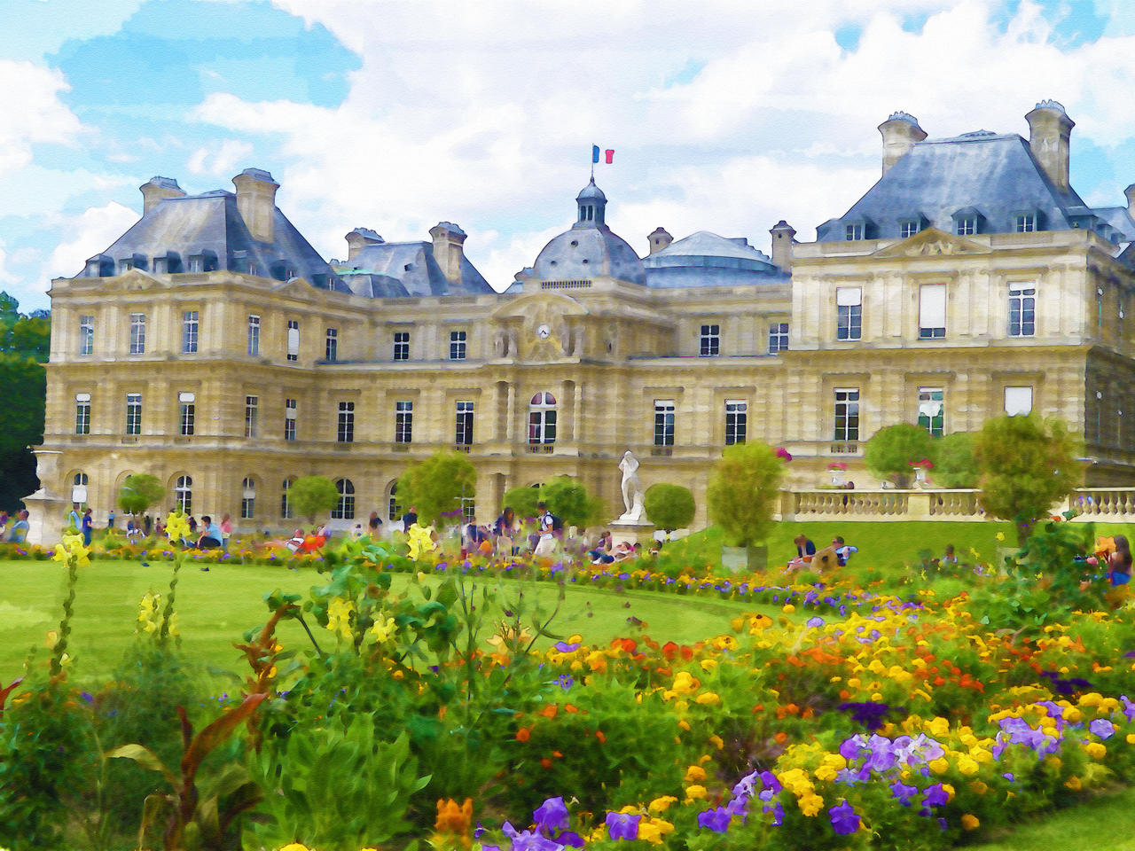 Jardin du luxembourg watercolor effect by artclem on for Jardin du luxembourg