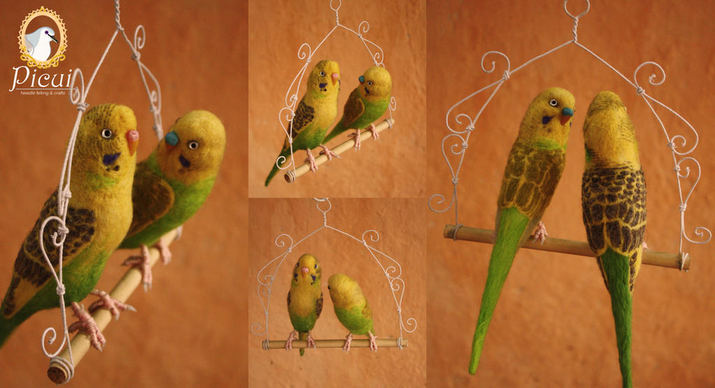 Papua And Fidji - Needle Felted Budgies by PicuiDove