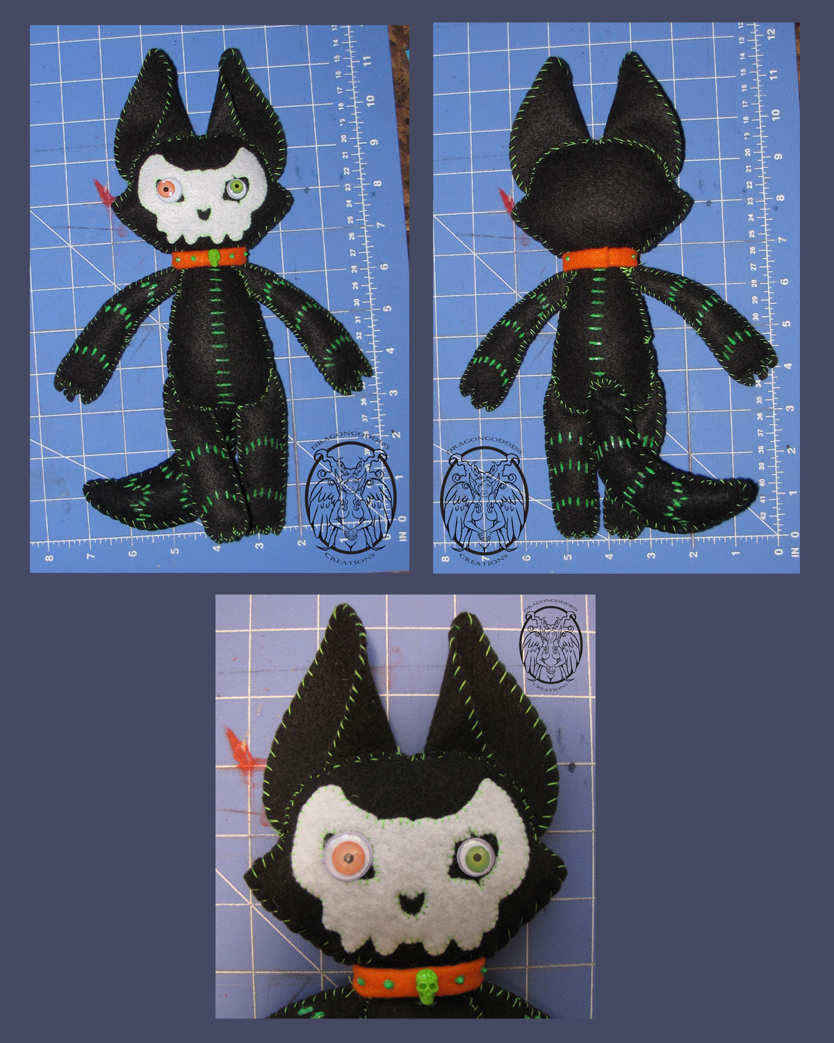 Flat Voodoo Wolf Fox Plushie by dragongoddess
