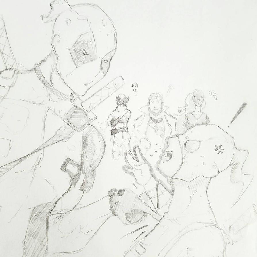 Deadpool + Gwenpool  (work sketch) by ravenclawtom