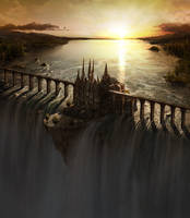 Waterfall Castle matte art by fstarno