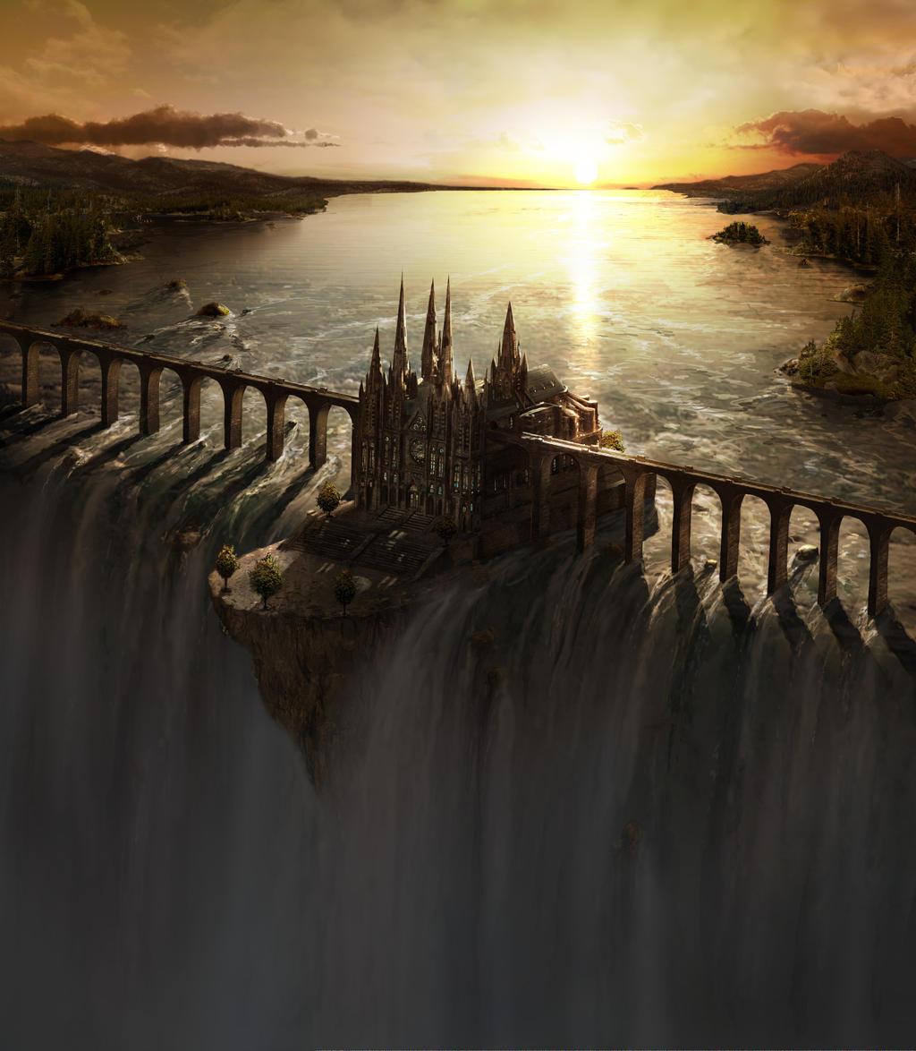 Waterfall Castle matte art by Fstarno dans Light Waterfall_Castle_matte_art_by_fstarno