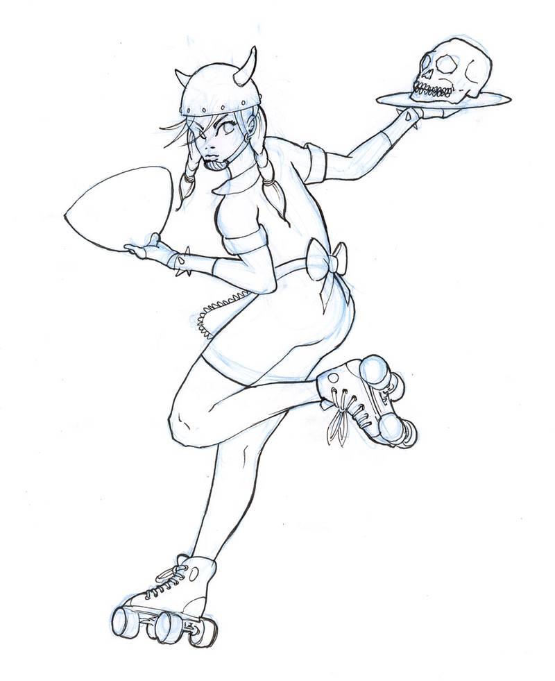 roller derby sketch by fstarno