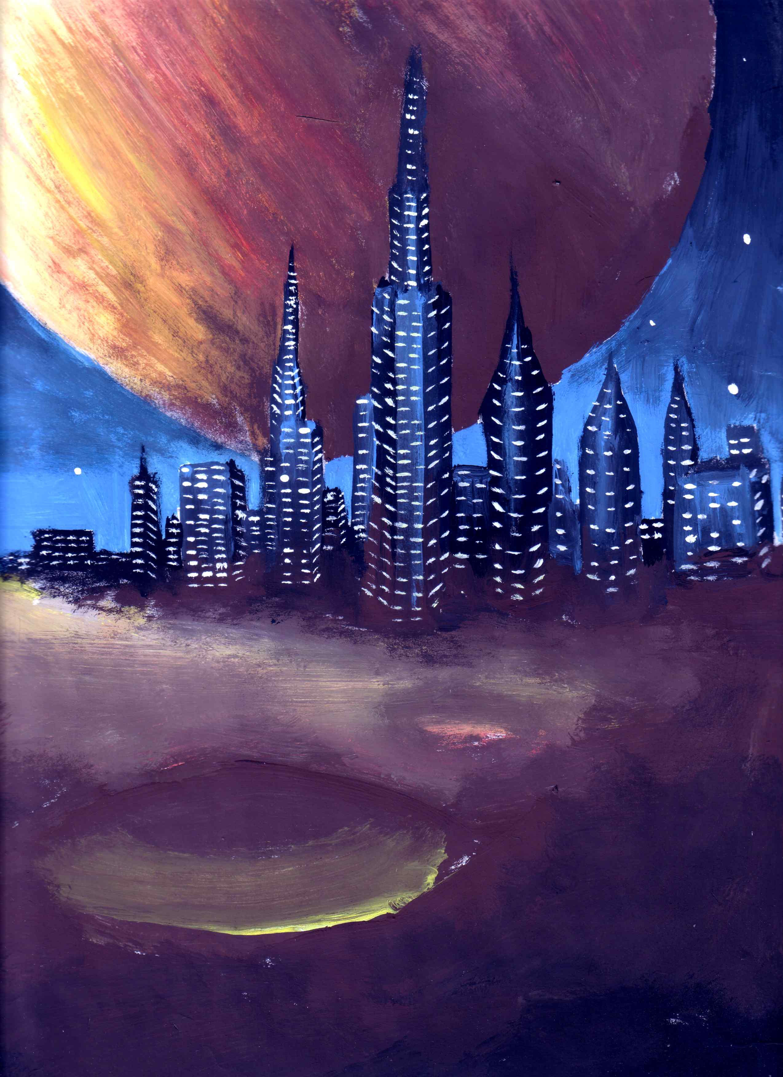 paintings planets and cities - photo #8