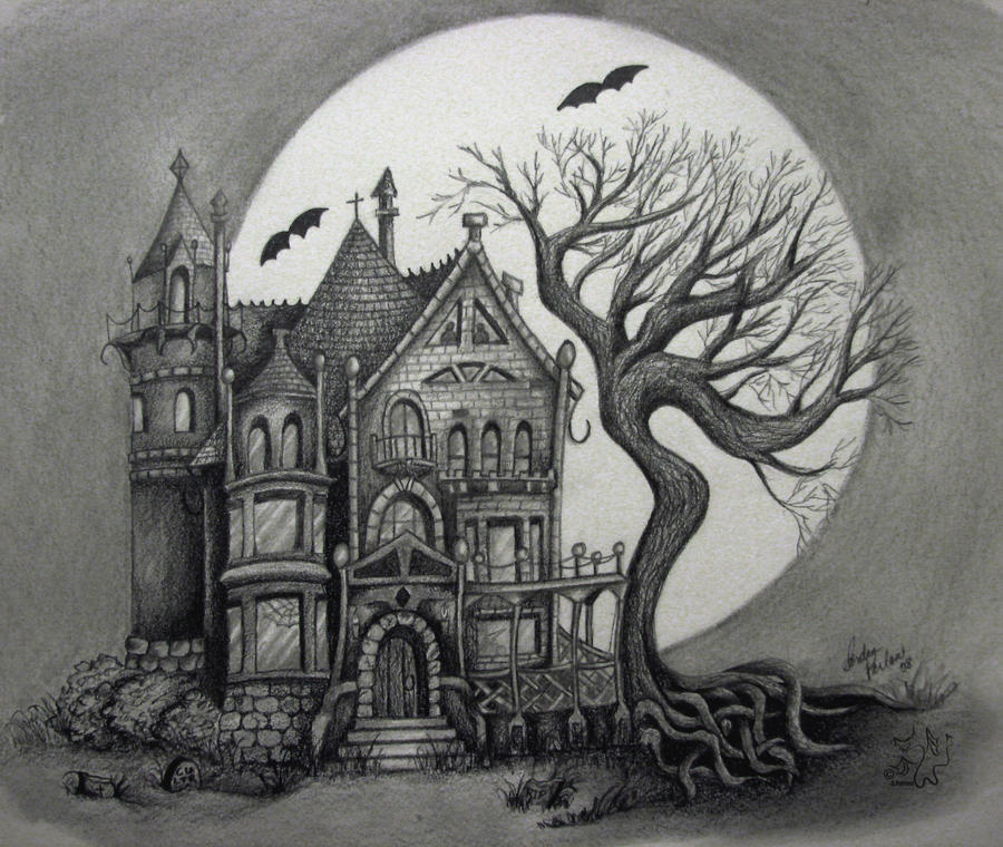 spooky house by Handie