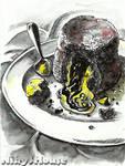 Inktober Day 4 - DESSERTS: Molten Lava Cake
