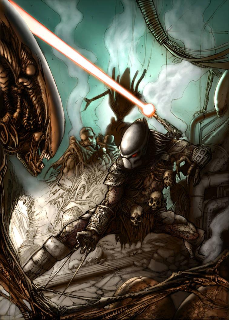 predator vs alien - coloring by kesha67
