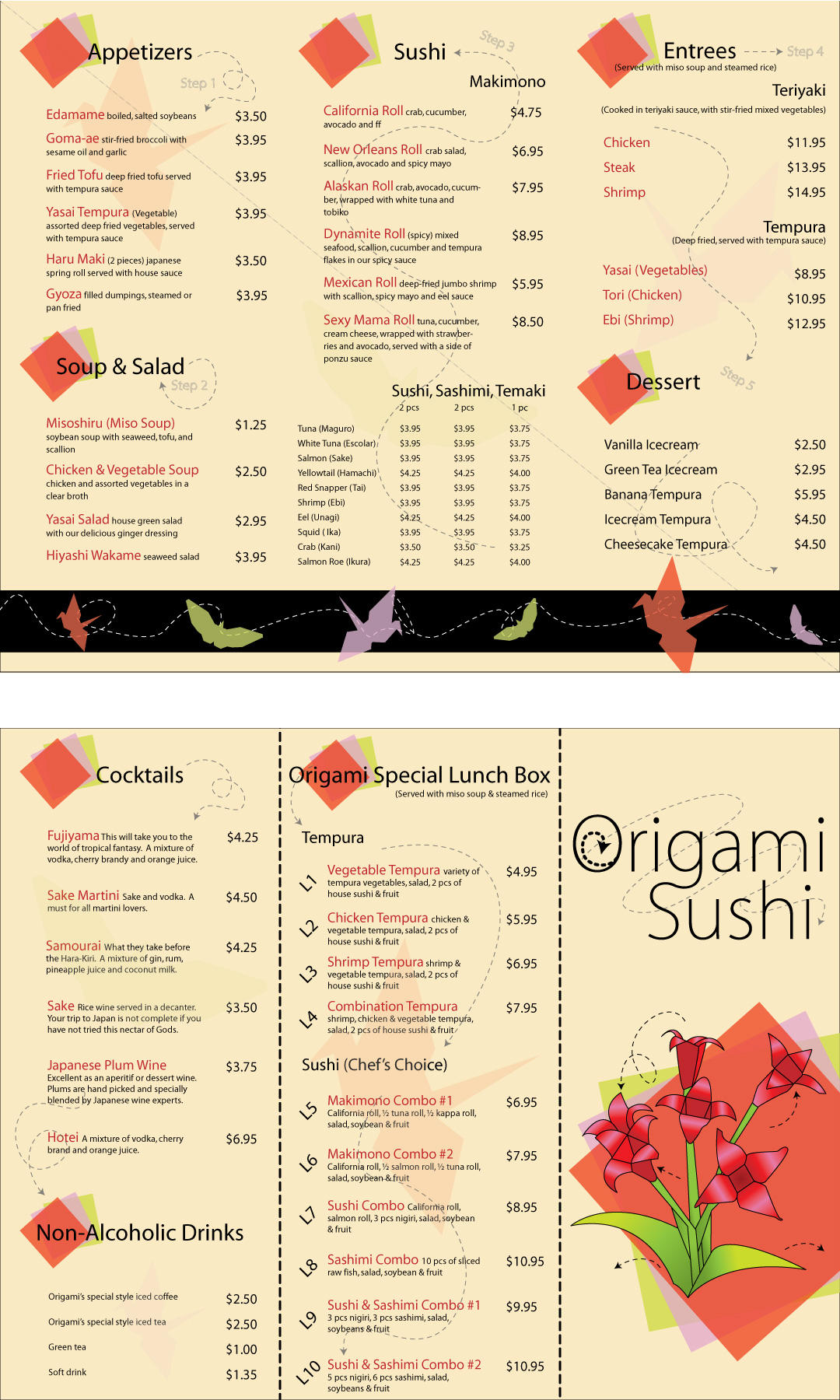 origami sushi menu by cremetangerine on deviantart