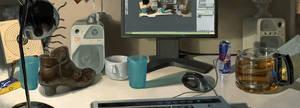 my desk by janaschi
