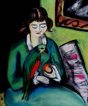 Girl in Green Dress Feeding Parrot, Beckmann