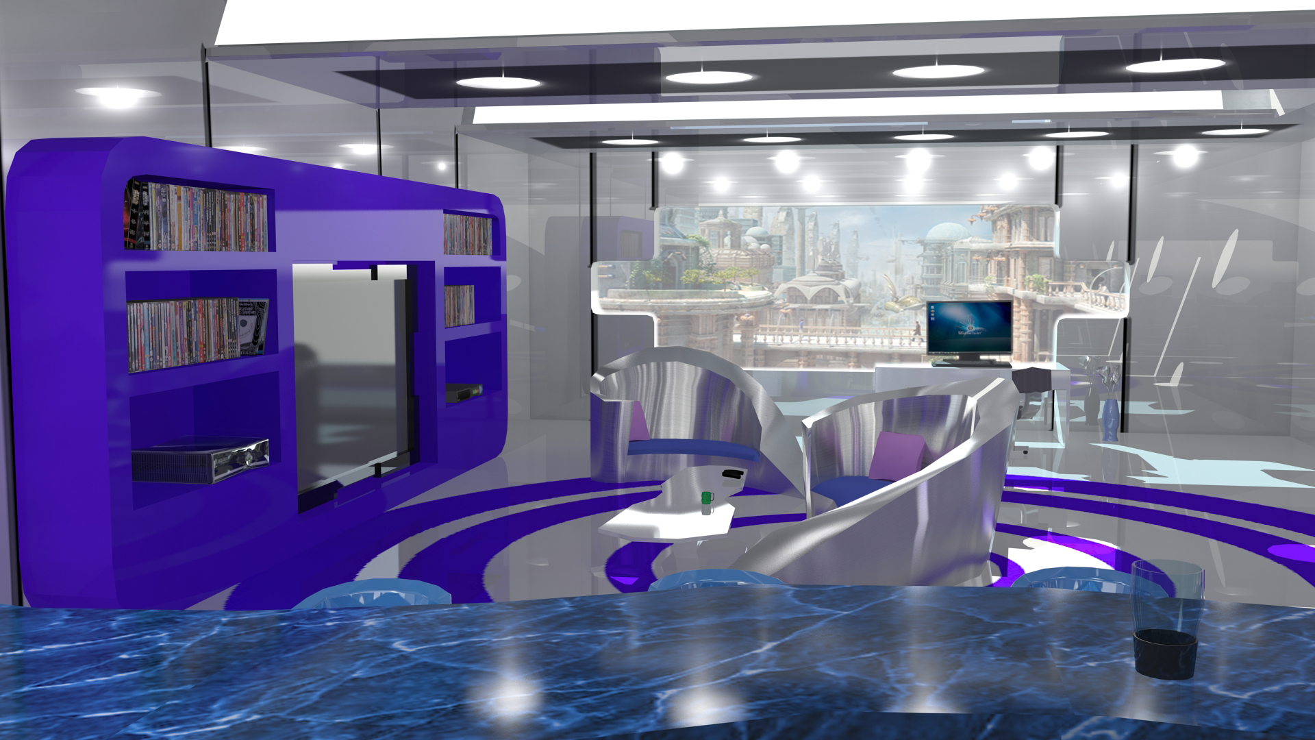 Sci fi modern living room by aceofspades230 on deviantart for Sci fi decor