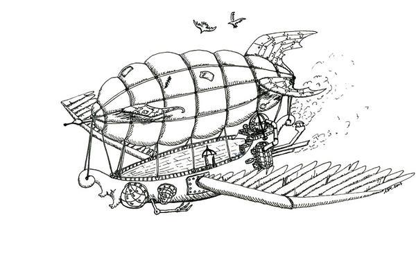 Steampunk Airship - Ink by thefuzzyslug