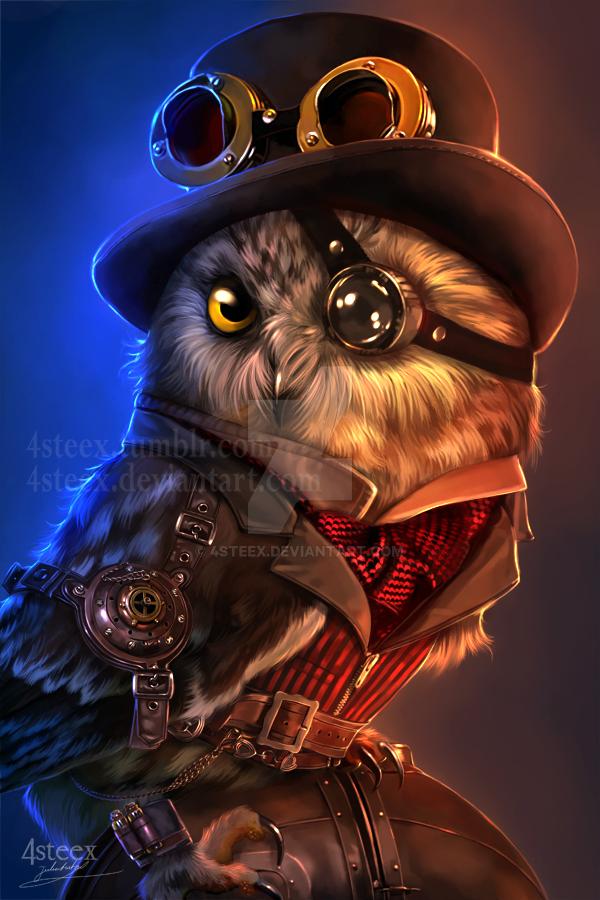 steampunk owl by 4steex