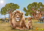 commission: lion and cub