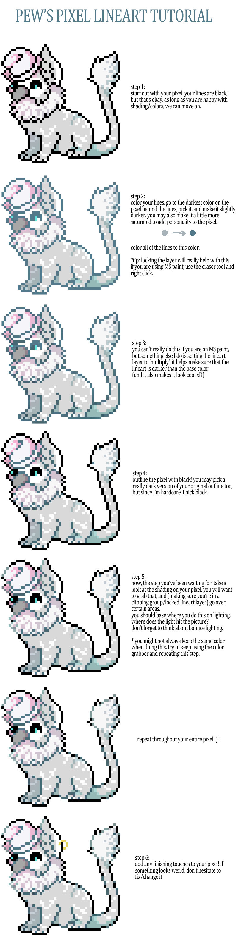 Pixel Lineart Tutorial by pew