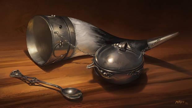 Horn, Cup, Spoon Still Life