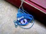 Wire Wrap - Bright Blue Purple Silver Eye
